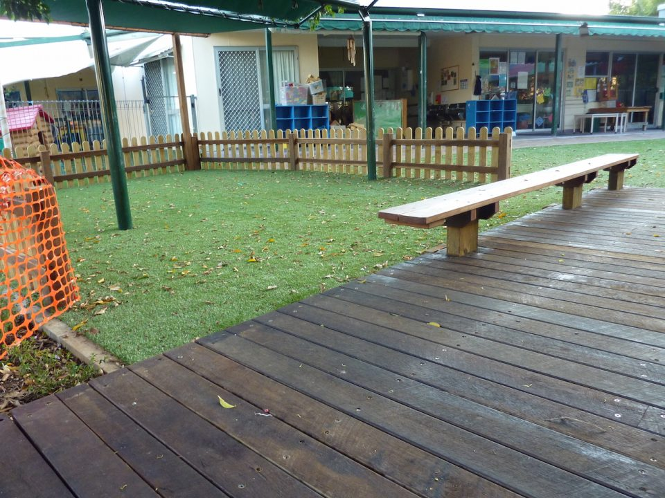 Graceville Kindy Redevelopment - Swing area complete with Rubber shock pads and Seat