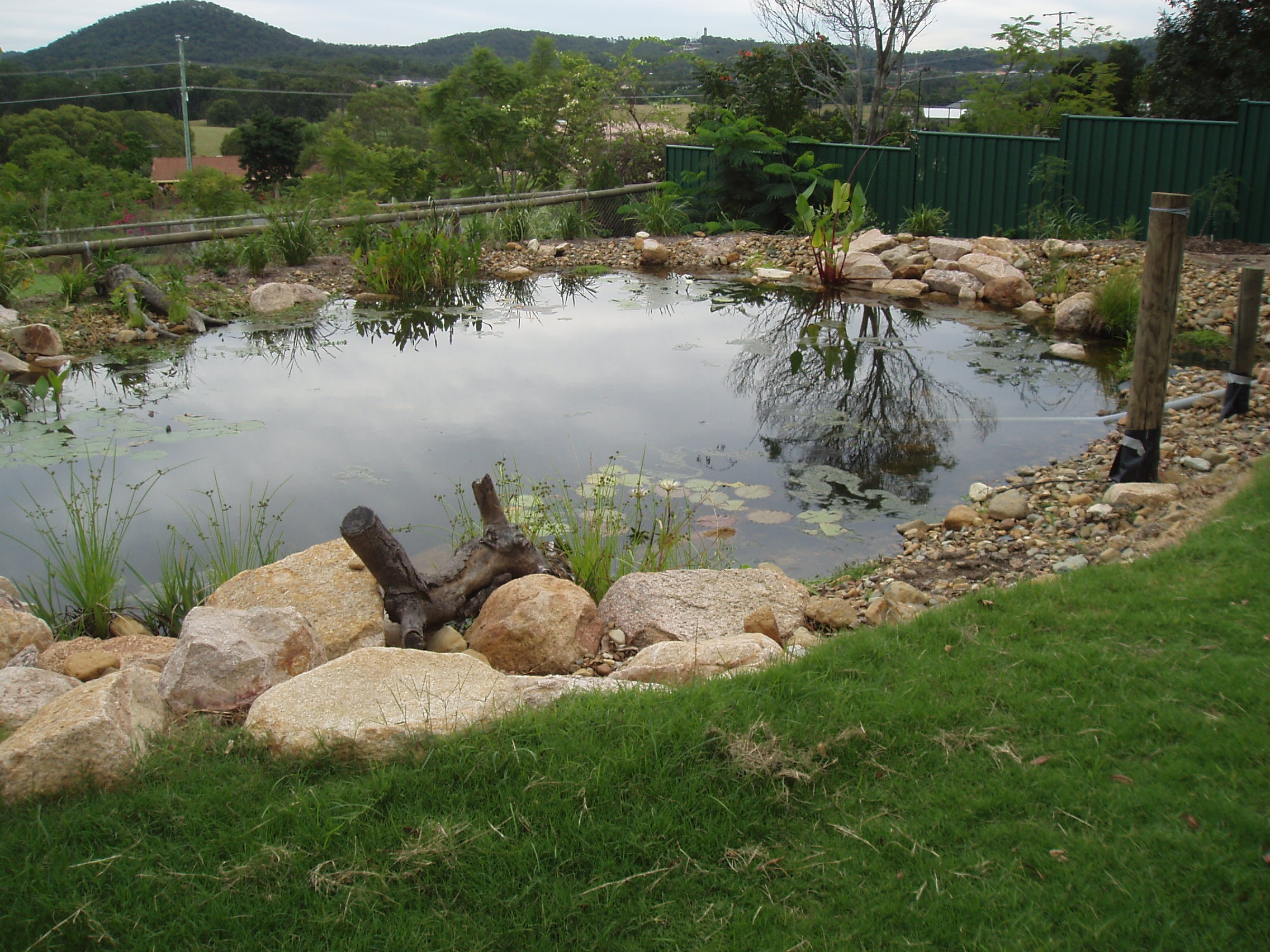 Outdoor lighting irrigation water features brisbane for Small pond dam design